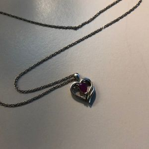 Jewelry - Sterling silver heart necklace with ruby